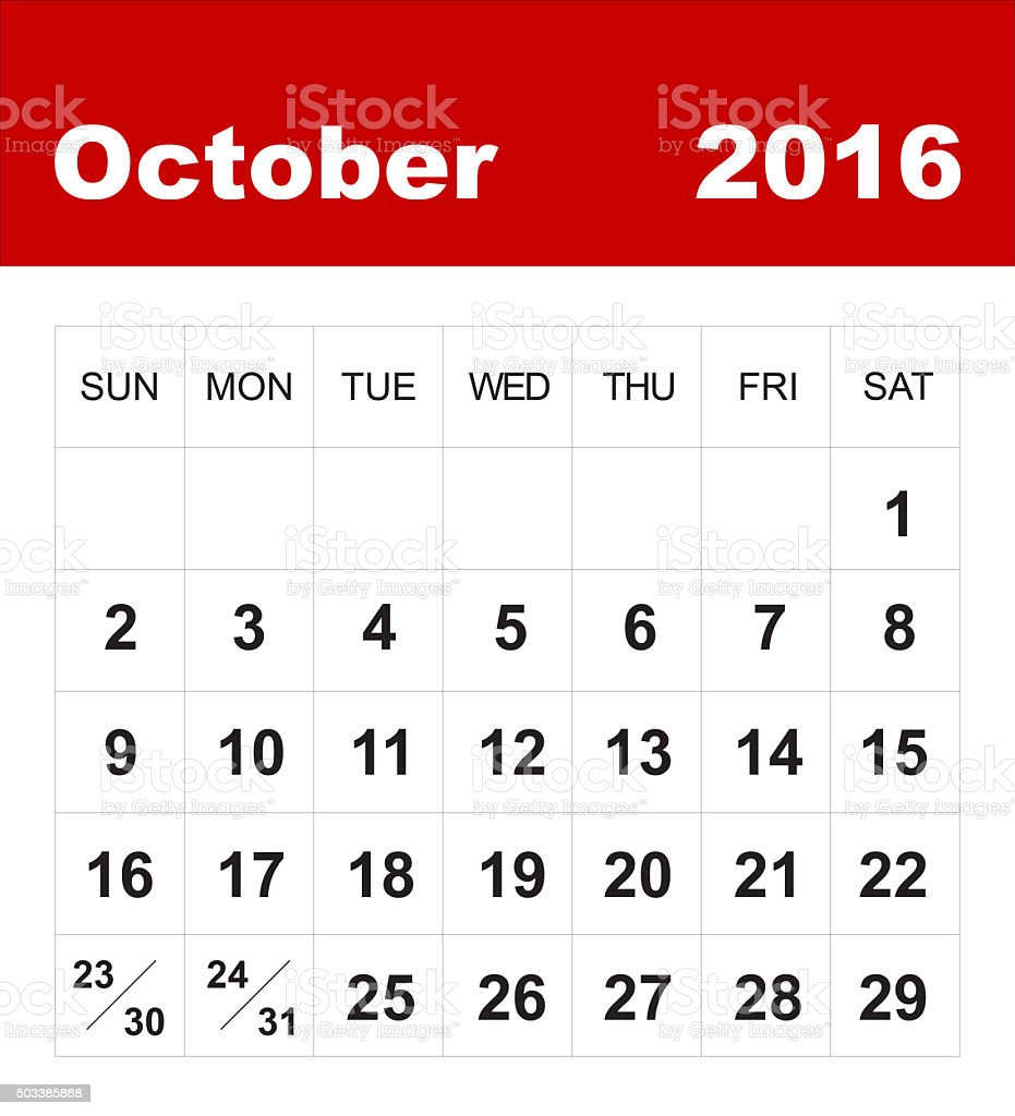 October 2016 calendar stock photo