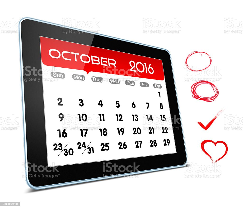 October 2016 Calender on digital tablet isolated on white background stock photo