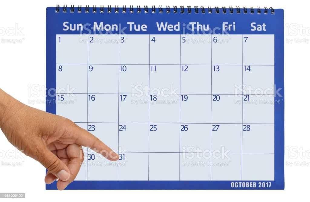 October 2017 Calendar Pointing to Halloween stock photo