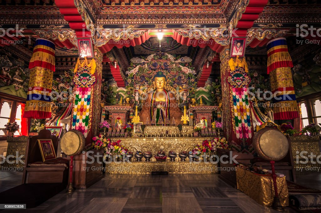 October 30, 2014: Inside a Buddhist temple in Bodhgaya, India stock photo