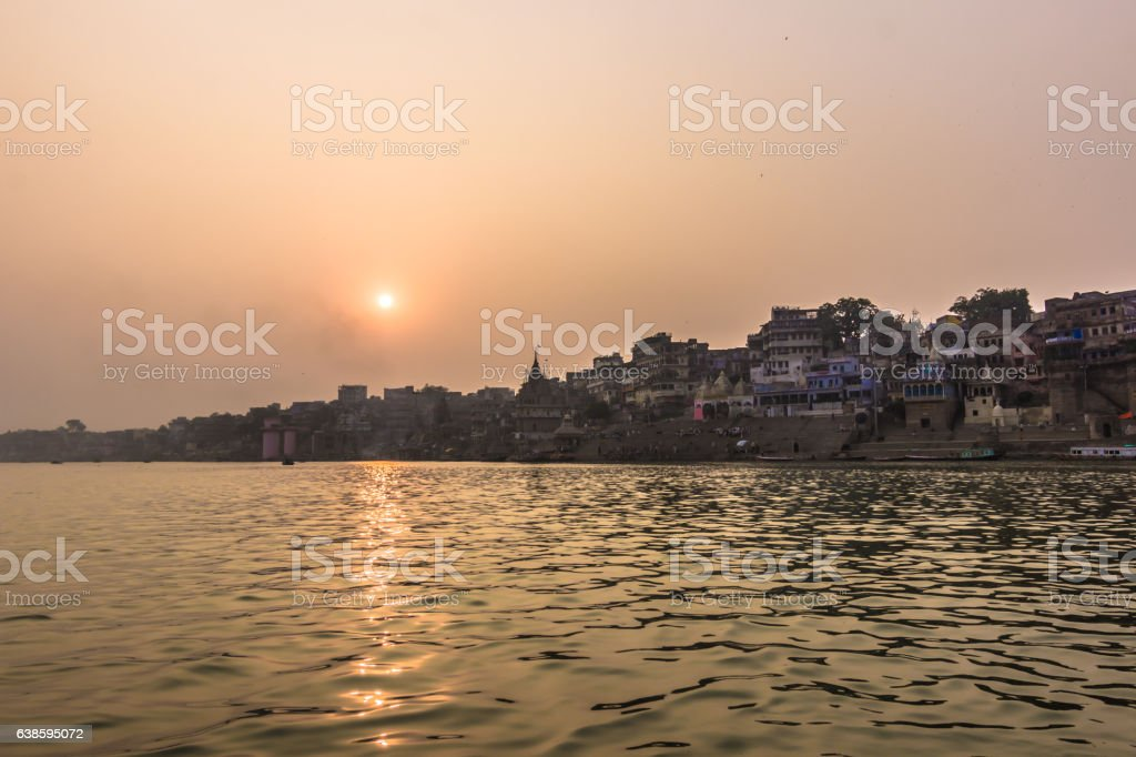 October 31, 2014: Sunset in Varanasi, India stock photo
