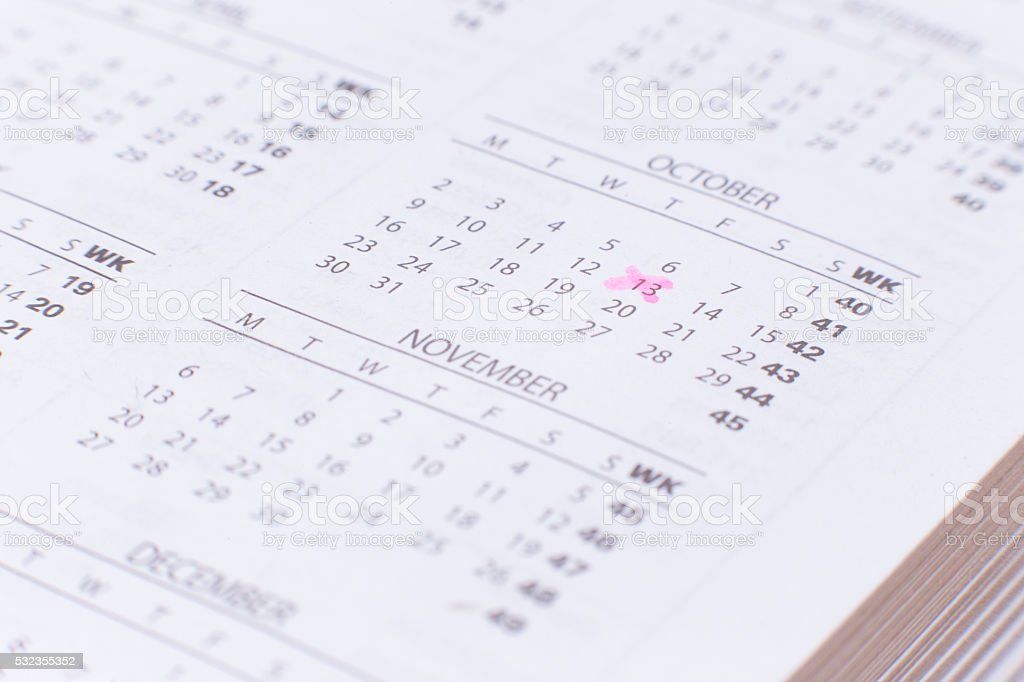 October, Friday 13th, Fear concept stock photo