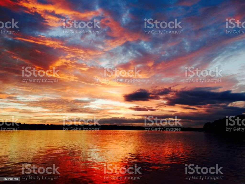 October sunset stock photo