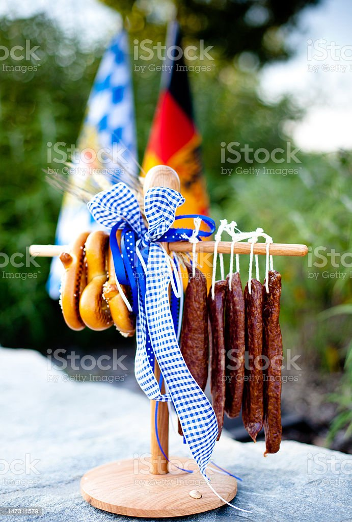 Octoberfest Hanging Landjaeger and Pretzels royalty-free stock photo