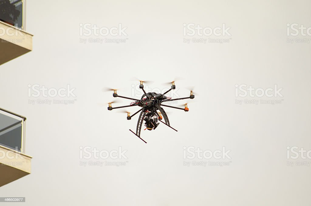 Octocopter Flying royalty-free stock photo