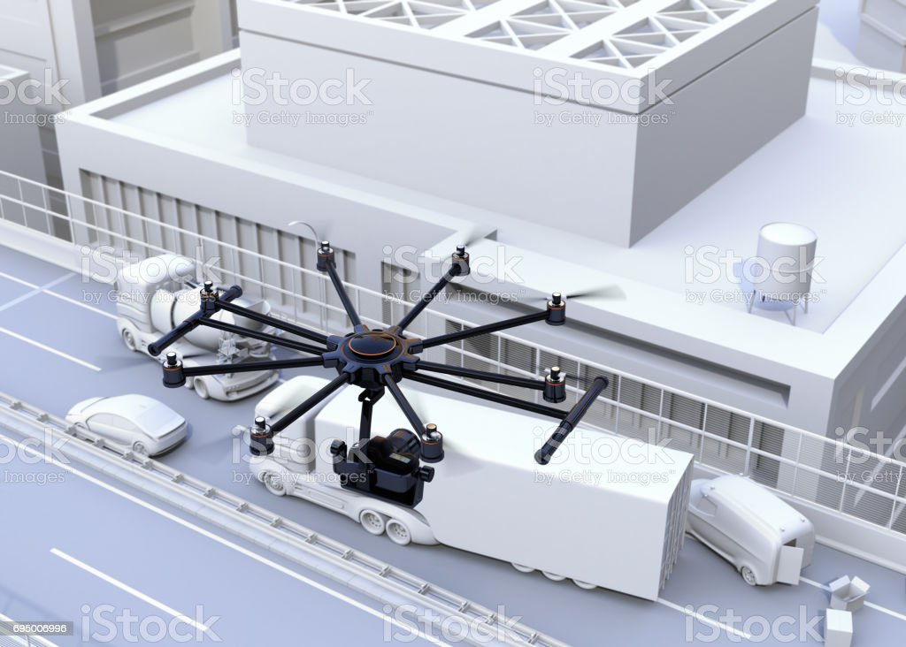 Octocopter recording car accident by DSLR camera stock photo