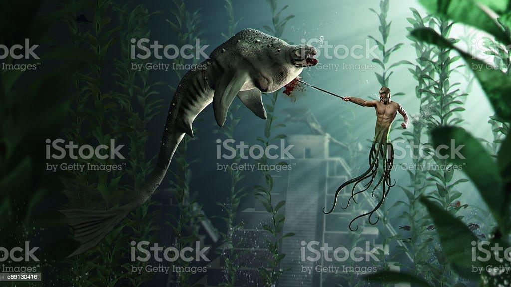 Octopus Attack stock photo