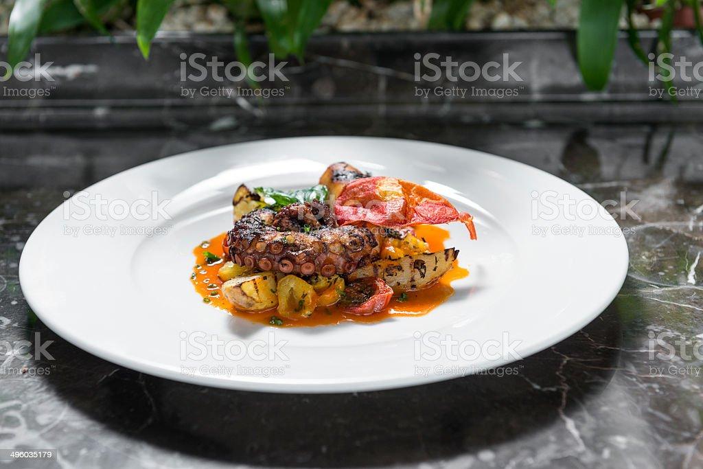 Octopus plate stock photo
