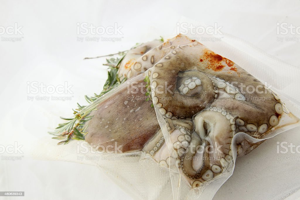 Octopus under vacuum prepared for sous vide cooking stock photo