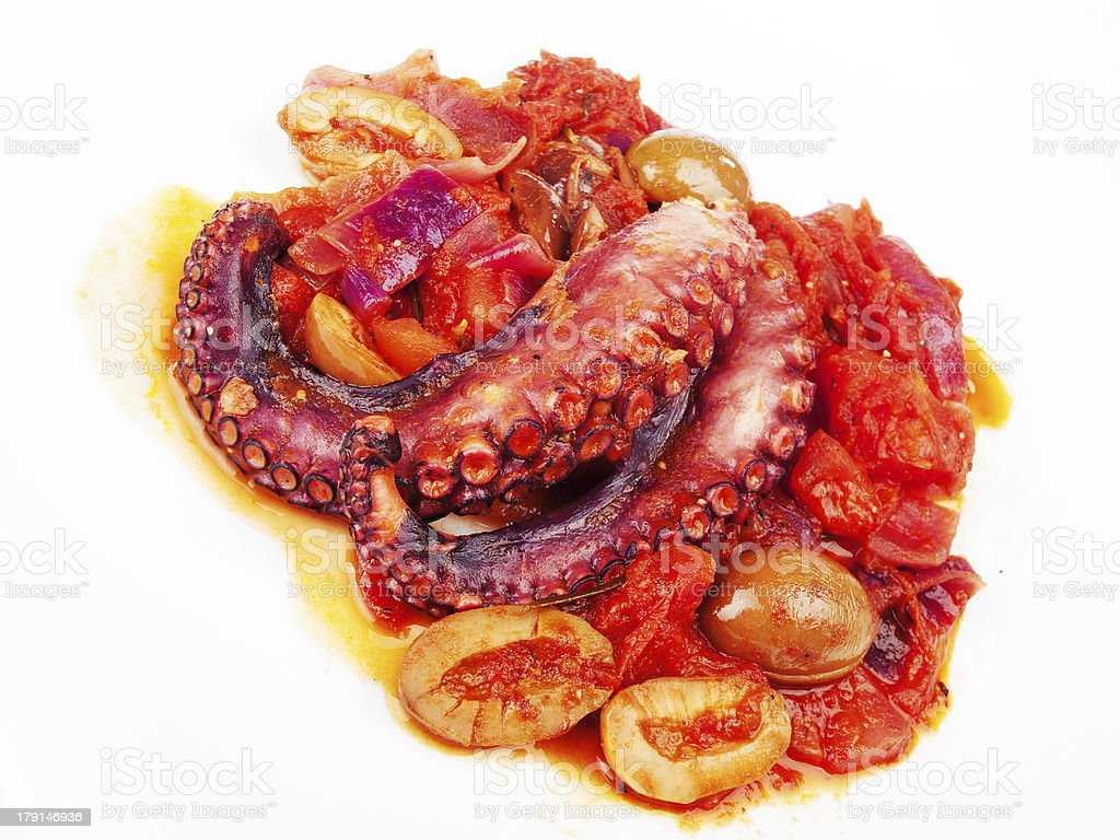 Octopus with tomato sauce and olives royalty-free stock photo