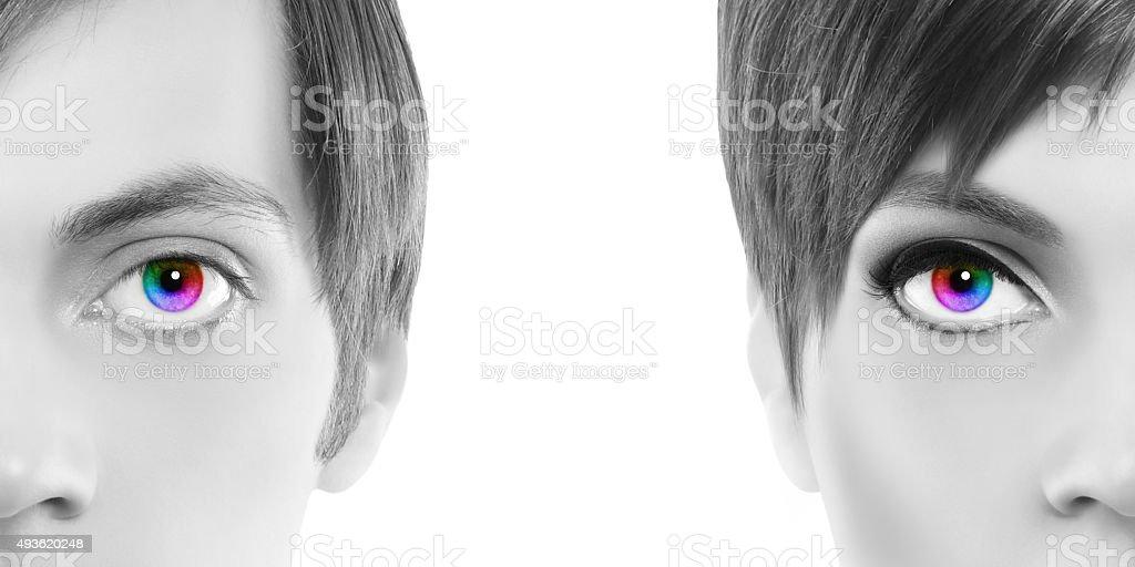 oculistic concept, black and white portrait half woman half man stock photo