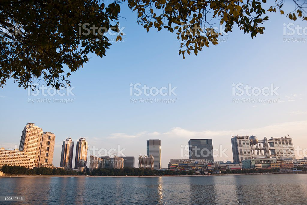 Odaiba Skyline at dusk stock photo