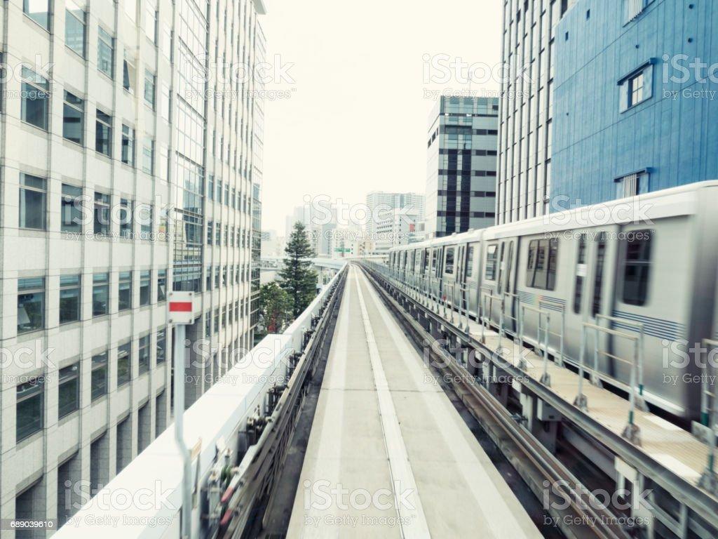 Odaiba train line in Tokyo stock photo