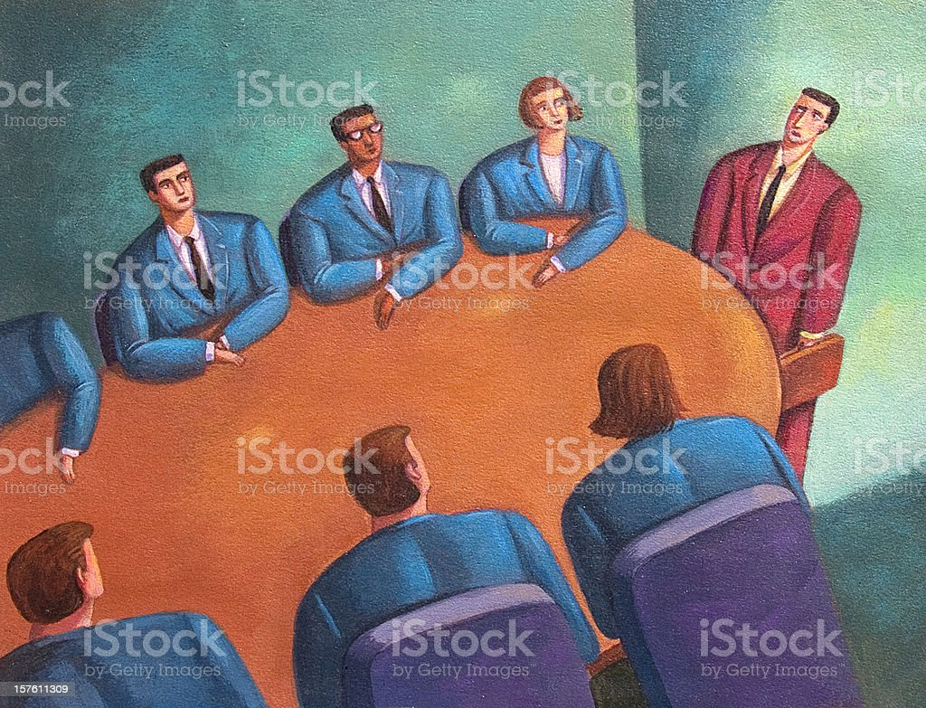 Odd man out at the Conference Table royalty-free stock photo