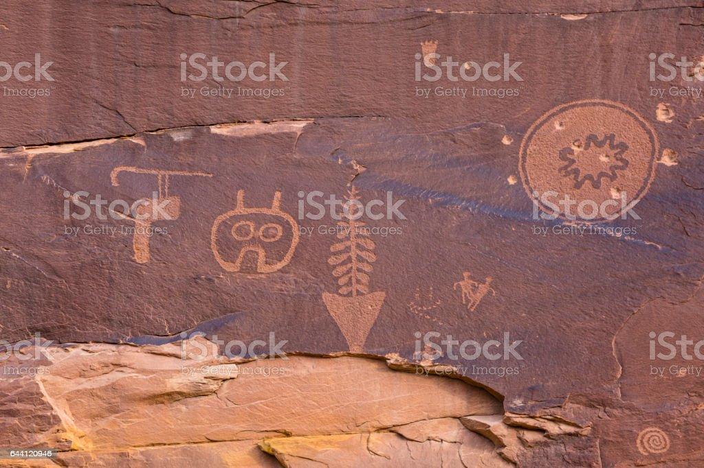 Odd Petroglyph Panel in Butler Wash stock photo