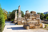 Odeon of Agrippa statues in Ancient Agora, Athens, Greece