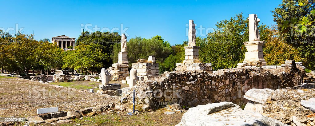 Odeon of Agrippa statues in Ancient Agora, Athens, Greece stock photo