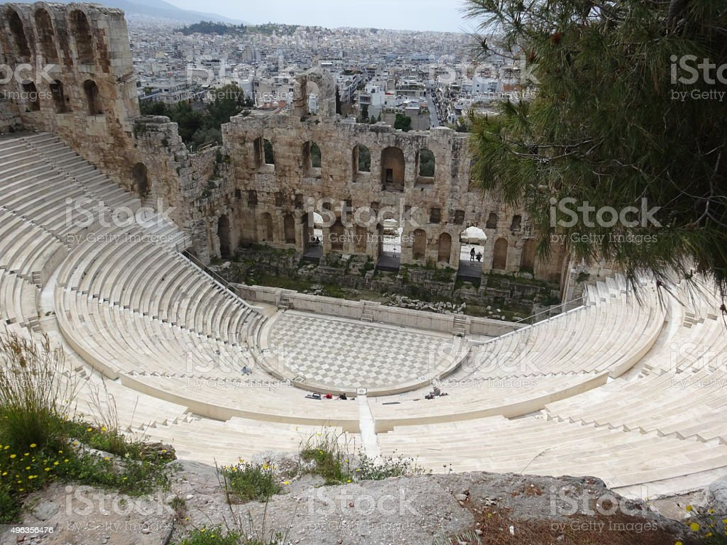 Odeon Of Herodes Atticus, Acropolis. Greece. stock photo