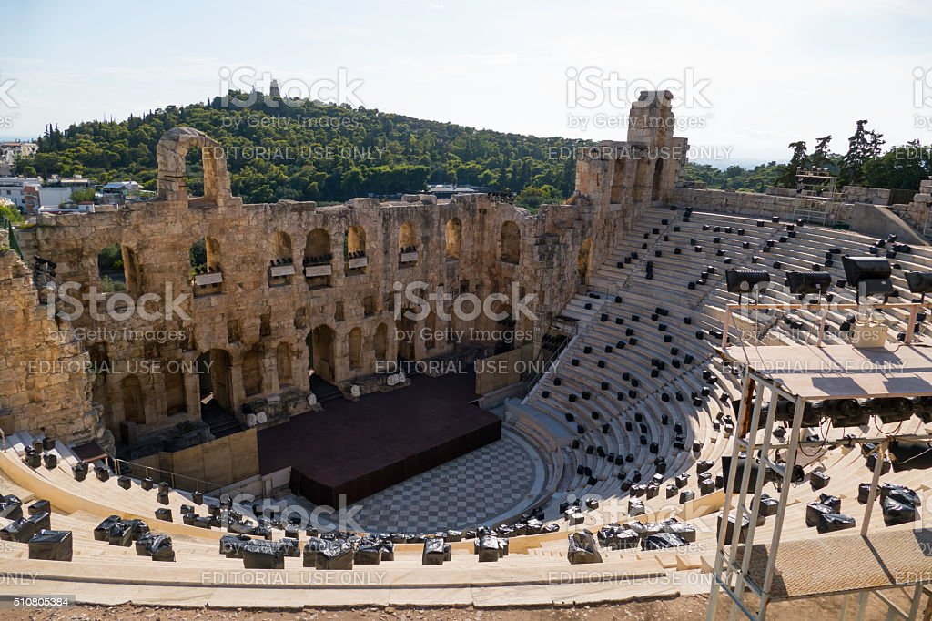Odeon of Herodes Atticus, Acropolis Hill,  Athens, Greece stock photo