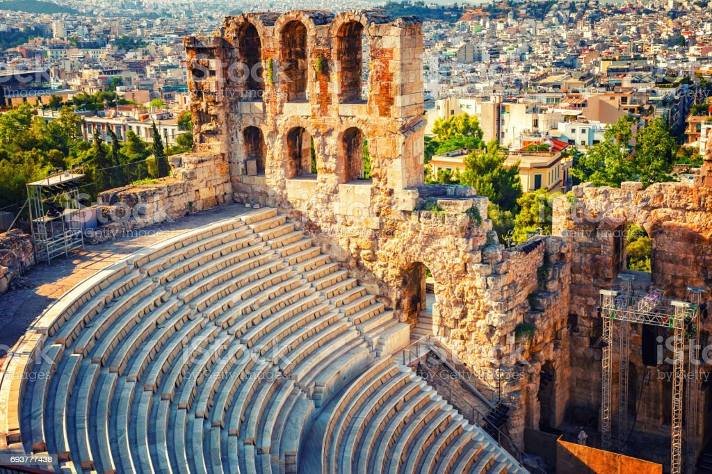 Odeon of Herodes Atticus in Acropolis of Athens stock photo