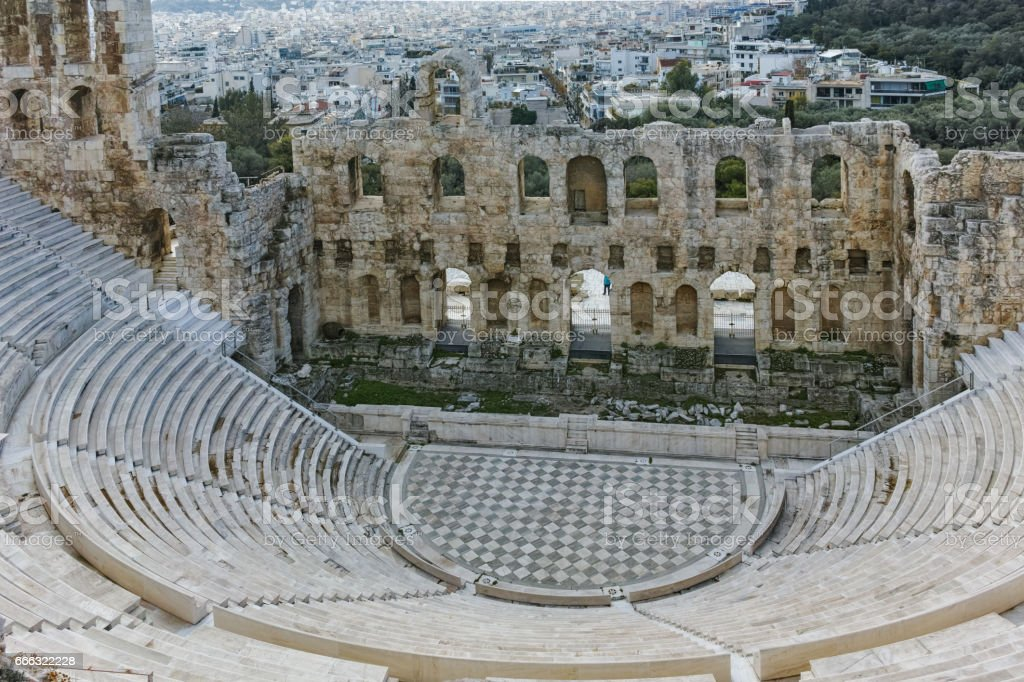 Odeon of Herodes Atticus in the Acropolis of Athens, Greece stock photo