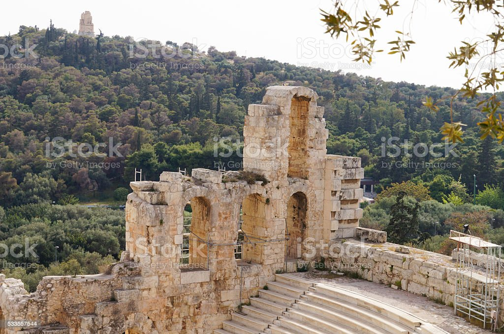 Odeon of Herodes Atticus of the Acropolis of Athens,Greece stock photo