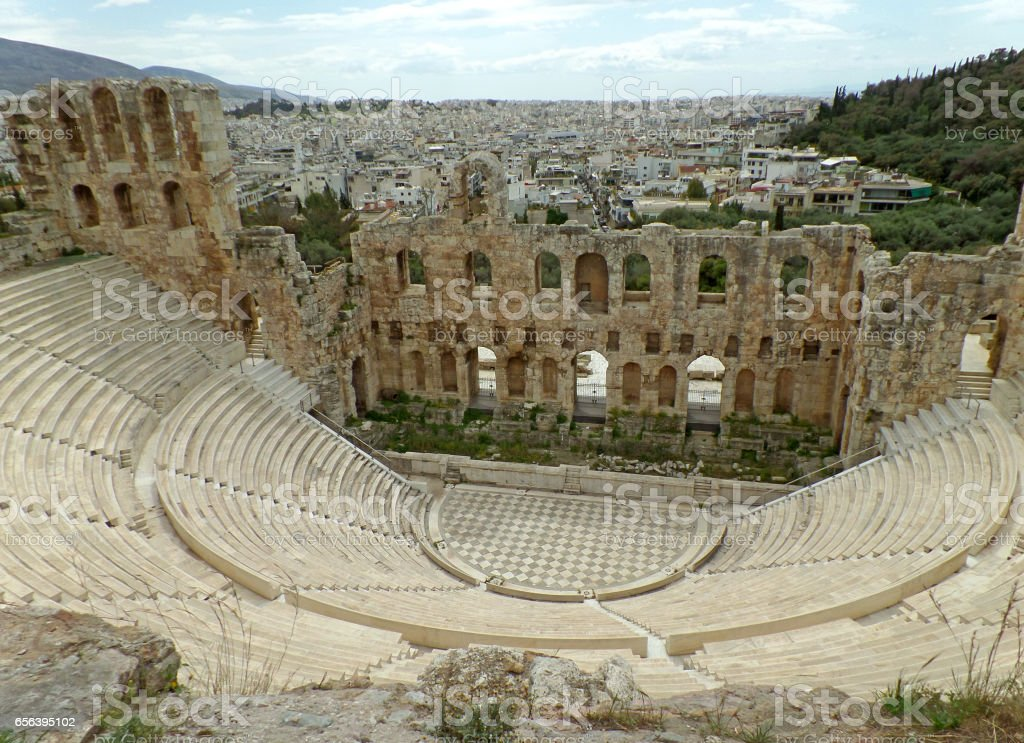 Odeon of Herodes Atticus Theater, Acropolis of Athens, Greece stock photo