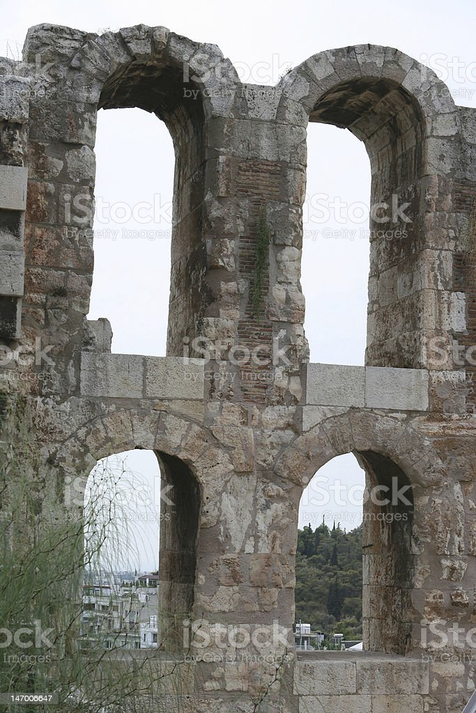 Odeon of Herodes Atticus theater detail stock photo