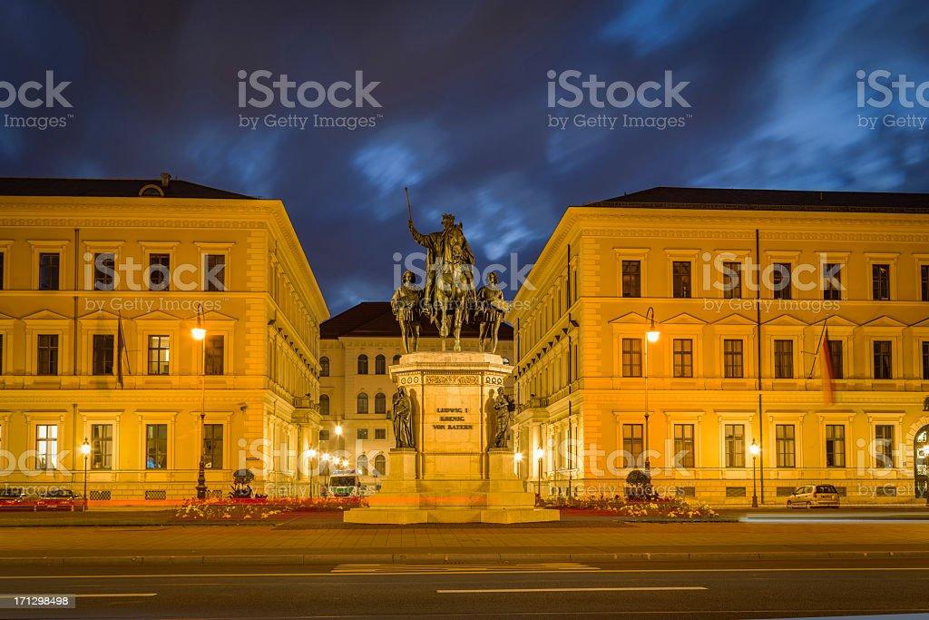Odeonsplatz at night, Munich, Germany stock photo