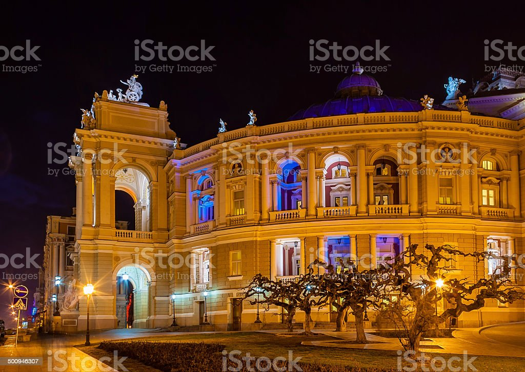 Odessa Opera and Ballet Theater at night. Ukraine stock photo