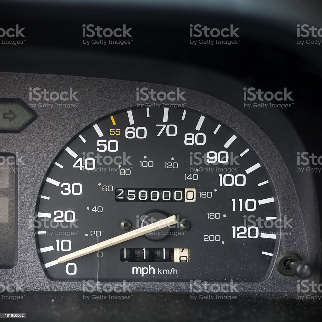 Odometer with 250,000 miles stock photo