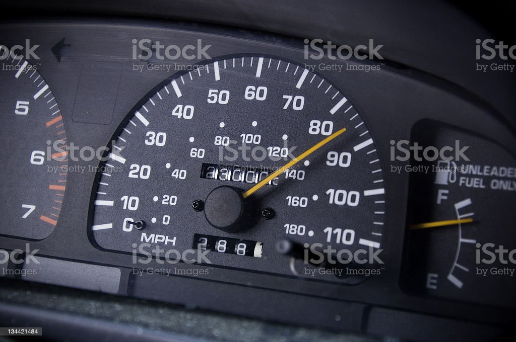 Odometer Showing 230000 Miles and Speed of 85 MPH royalty-free stock photo