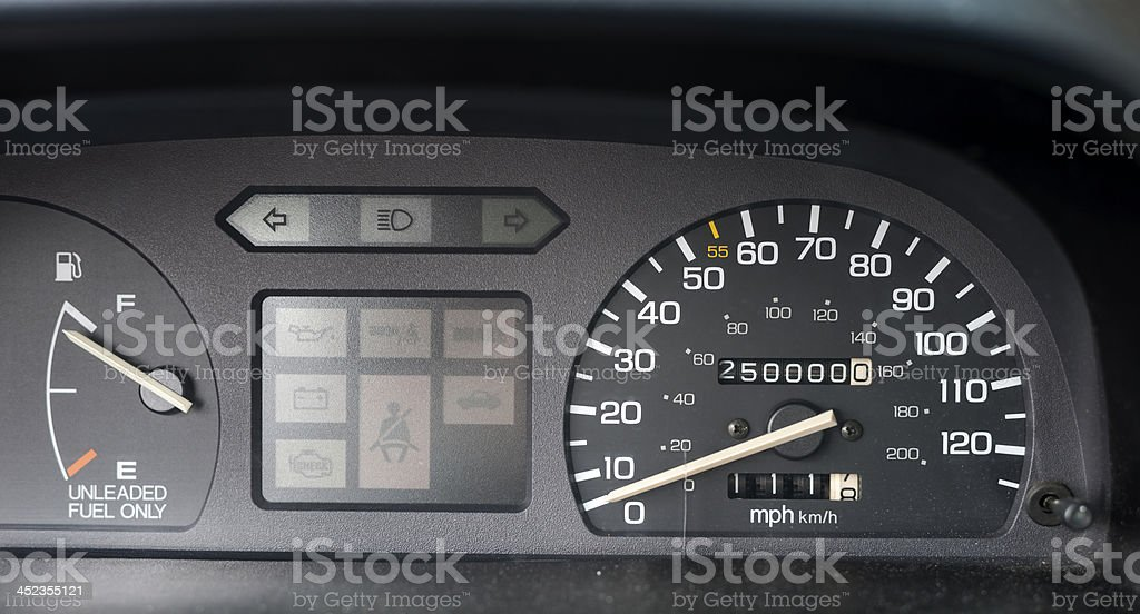 Odometer with 250,000 miles royalty-free stock photo