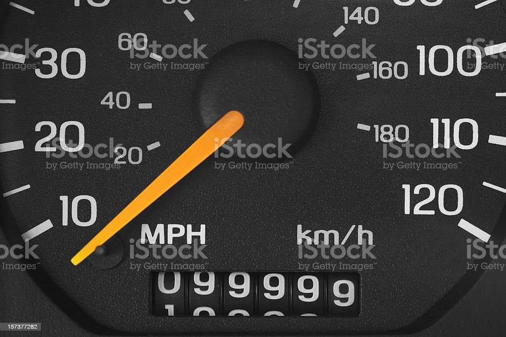 Odometer with 99999 miles stock photo