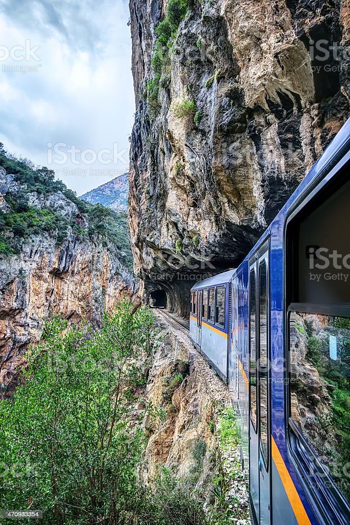 Odontotos rack railway, with tracks dug on rocky cliffs stock photo