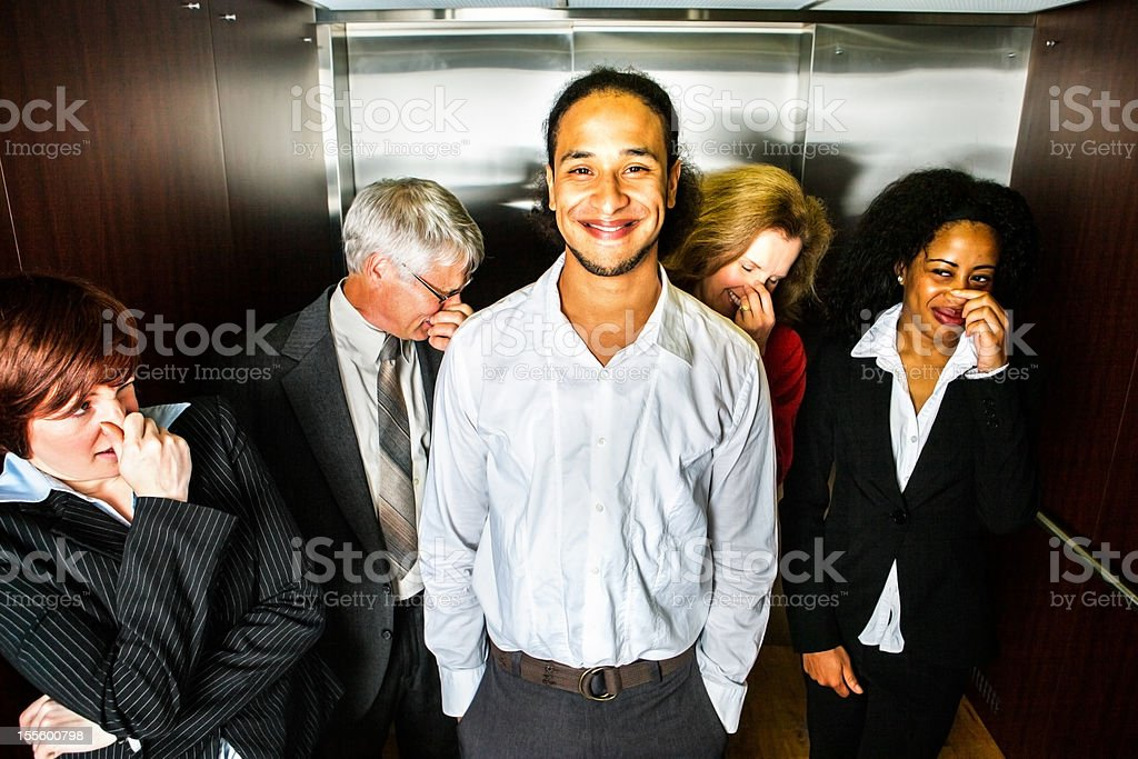 Odor in the elevator stock photo