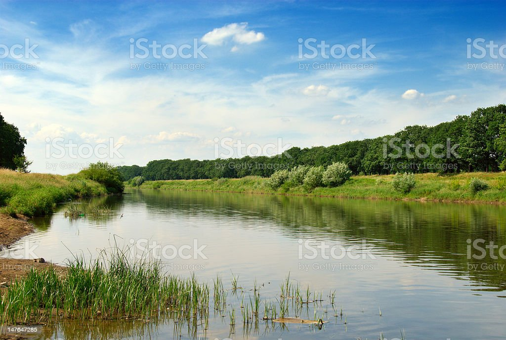 Odra river in Poland stock photo