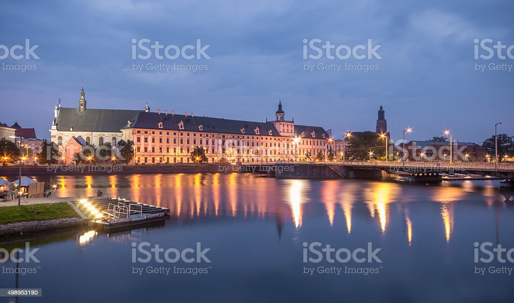 Odra river waterfront in Wroclaw, Poland stock photo