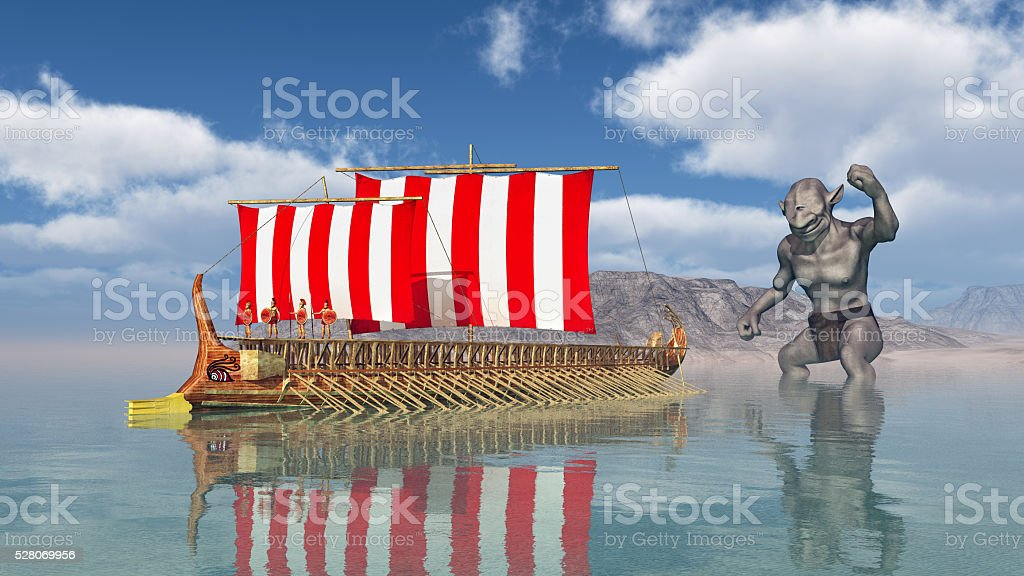 Odysseus at the Cyclopes stock photo