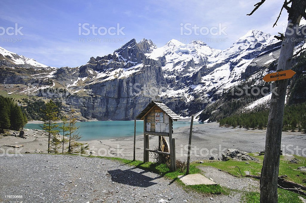 Oeschinensee blue lake royalty-free stock photo