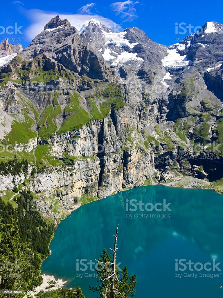 Oeschinensee in Switzerland as seen from above stock photo