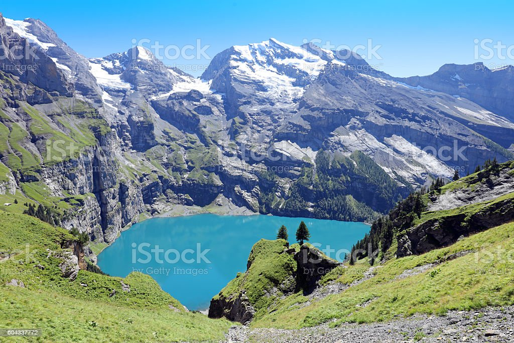 Oeschinensee Lake Panorama Switzerland stock photo