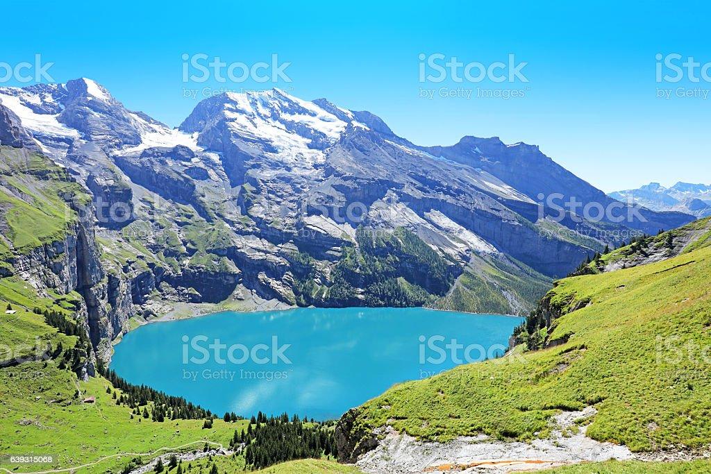 Oeschinensee Lake Panorama Switzerland stock photo