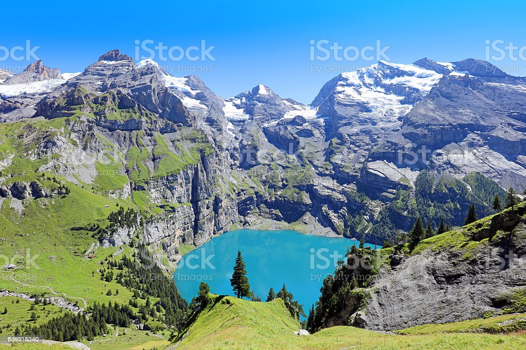 Oeschinensee Lake Panorama View Switzerland stock photo