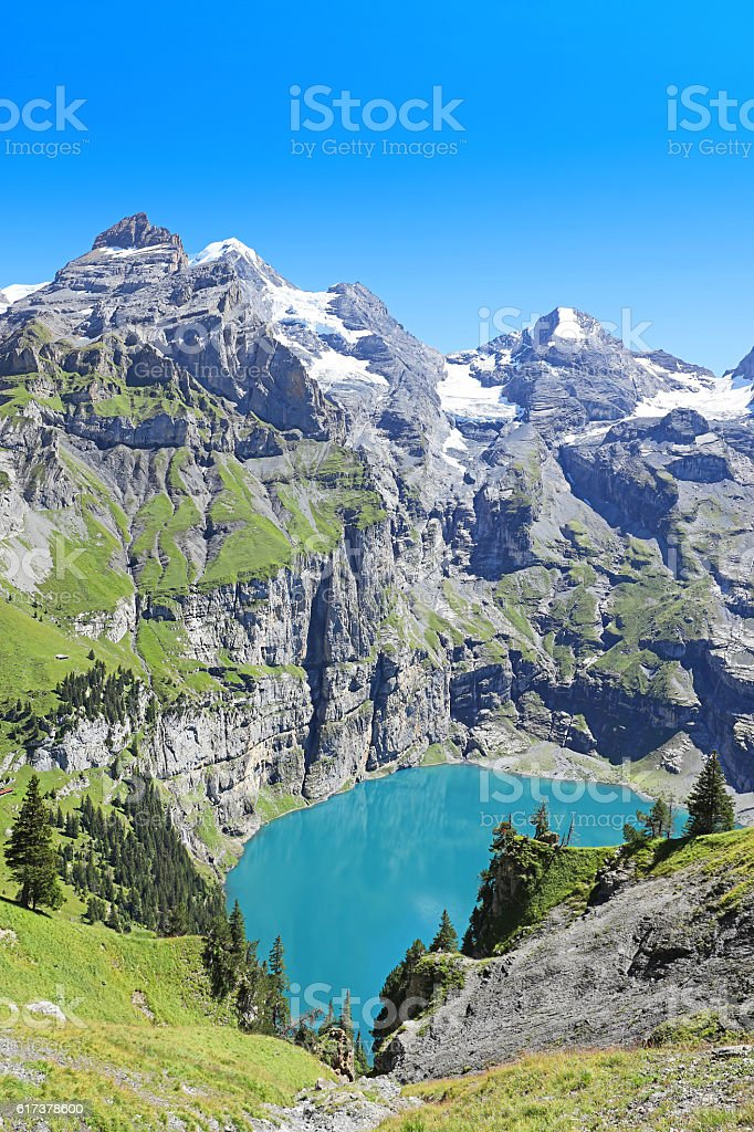 Oeschinensee Lake UNESCO Site in Berner Oberland Region Switzerland stock photo