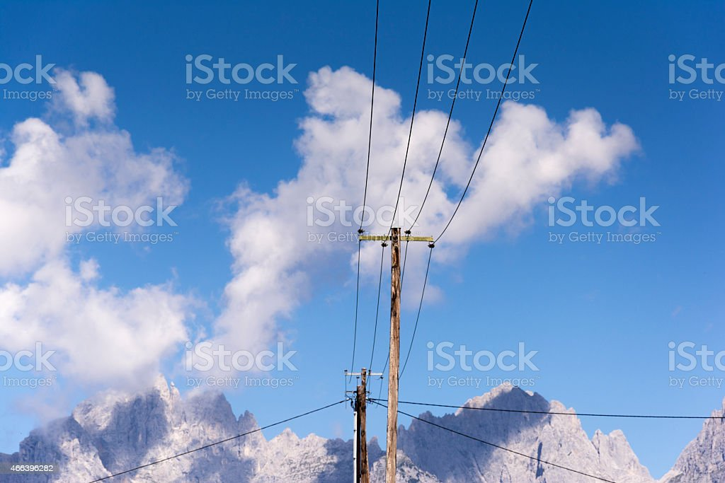 Oe–sterreich, Tirol, power supply line stock photo