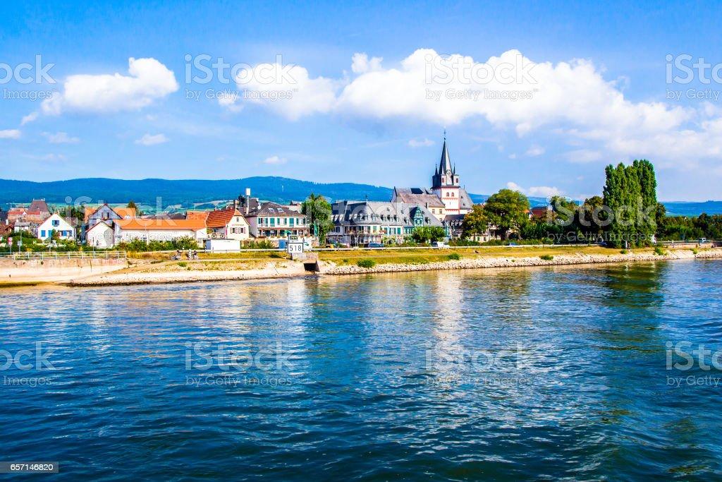 Oestrich-Winkel, little town on the Rhine river in Hesse stock photo