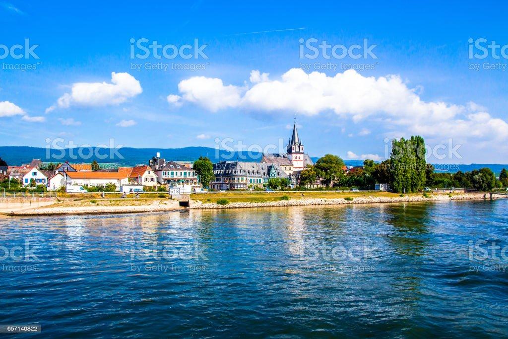 Oestrich-Winkel, little town on the Rhine river in Hesse, stock photo