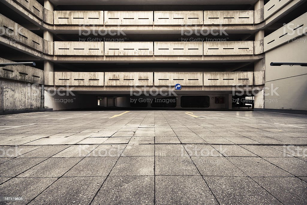 HDR of a big concrete courtyard from empty parking garage. stock photo