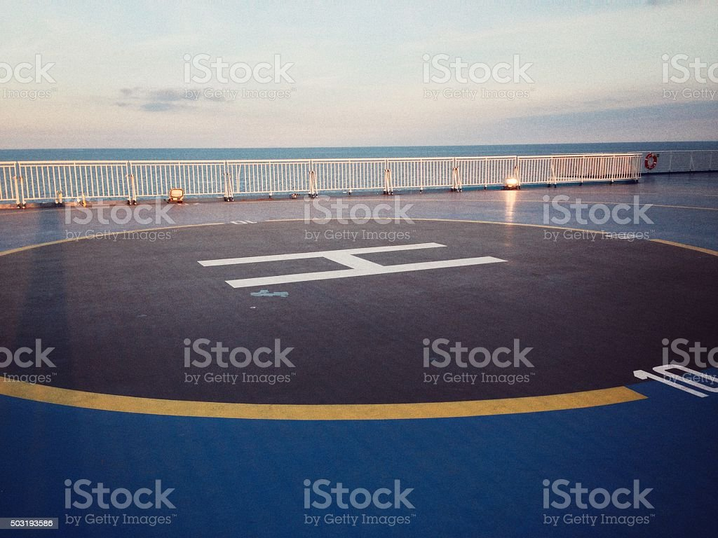 H of a heliport on a passenger ship stock photo